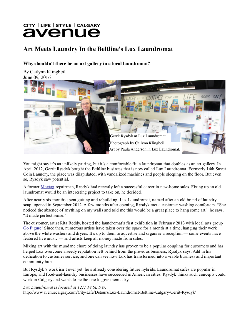 AVENUE MAGAZINE EDITORIAL ON LUX LAUNDROMAT