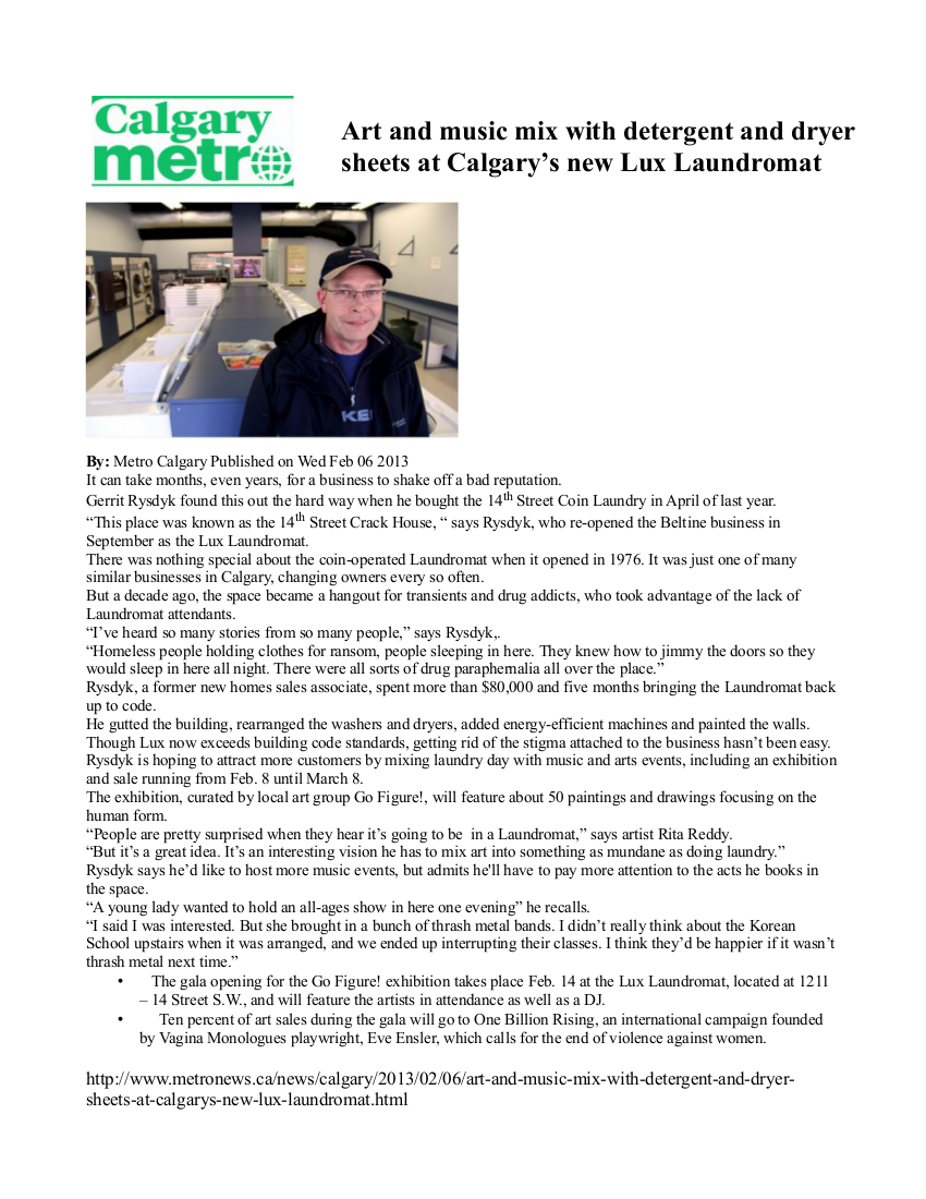 CALGARY METRO ARTICLE ON LUX LAUNDROMAT