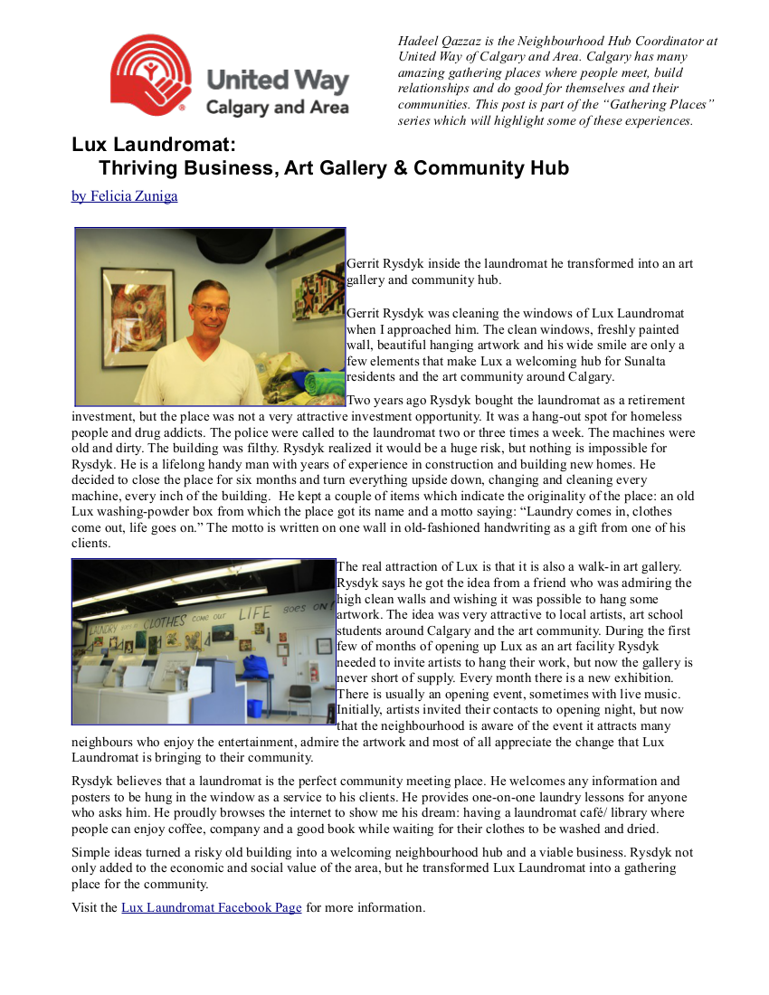 UNITED WAY ARTICLE ON LUX LAUNDROMAT